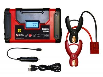 Пусковое устройство QUATTRO ELEMENTI Energia 5001 Li  (USB, LCD - дисплей, фонарь, сумка)