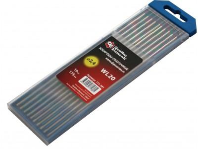 Электроды сварочные QUATTRO ELEMENTI вольфрамовые, 2,4 мм, длина 175 мм, тип WL 20, 10 шт в пласт. пенале